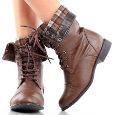 Brown Combat Hiking Motorcycle Army Plaid Cuff Lace Up Womens