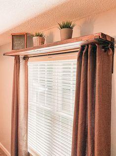 DIY window curtain rod shelf combo is a timeless piece of decor, perfect for any room. Simple and functional window decor this DIY window curtain rod shelf combo is a timeless piece of decor used in my office. Diy Curtain Rods, Diy Curtains, Hanging Curtains, Wood Curtain, Decorative Curtain Rods, Curtain Ideas, Curtains For Windows, Bedroom Window Curtains, How To Hang Curtains