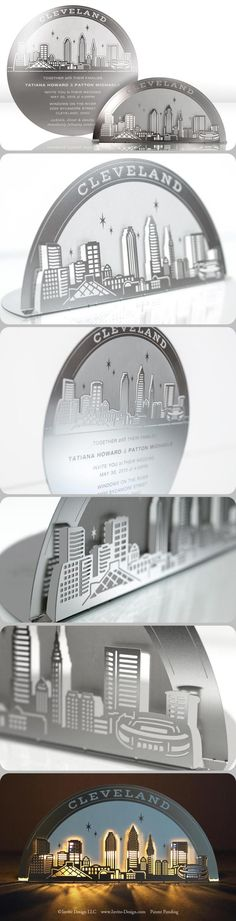 Cleveland Skyline metal invitation mails flat, then converts to a tea light holder. It's eco-friendly because guests keep it, AND it doubles as a favor. Places To Get Married, When I Get Married, Wood Invitation, Invitation Design, Cleveland Skyline, Cleveland Rocks, Unusual Wedding Invitations, Cleveland Wedding, Dream Wedding