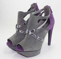Calvin Klein Womens Shoes 8 Gray Purple High Heels Platforms Peep Toe Pumps New #lazybreezedeals