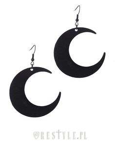 """MOON BLACK EARRINGS"" Gothic Earrings, Crescent, occult fashion"