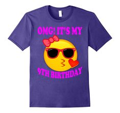 Check this Birthday emoji shirt for girls birthday-Teevkd . Hight quality products with perfect design is available in a spectrum of colors and sizes, and many different types of shirts! Girls 9th Birthday, Birthday Emoji, Birthday Shirts, Funny Birthday, Birthday Ideas, Emoji Shirt, Shirts For Girls, Types Of Shirts, Printed Shirts