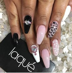 Black and light pink nails