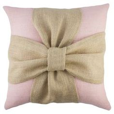"""Easy idea for pillow. Handmade burlap pillow with a bow design. Made in the USA.  Product: PillowConstruction Material: Burlap coverColor: Pink and beigeFeatures:  Handmade by TheWatsonShopZipper enclosureMade in the USA Insert included  Dimensions: 16"""" x 16"""""""