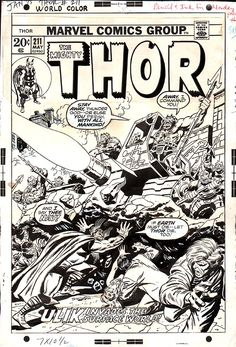 Thor Cover Comic Art For Sale By Artist John Buscema at… Comic Book Pages, Comic Page, Comic Book Artists, Comic Artist, Comic Books Art, Black And White Comics, Black And White Artwork, Black White, Marvel Art