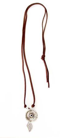 Feathia Balin Leather Necklace - Boho Jewellery $16.00 http://bohojewellery.com.au/feathia-balin-leather-necklace/