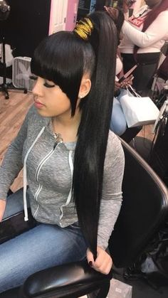 ponytail styles Top quality malaysian virgin hair straight 3 bundles with lace closure,factory direct sales 100 remy human hair extensions Weave Ponytails With Bangs, Bangs Ponytail, Weave Ponytail Hairstyles, Long Ponytails, Ponytail Styles, My Hairstyle, Afro Hairstyles, Long Ponytail Weave, Black Girl Ponytails