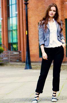 new shoes, new blog | gingham blazer | black trousers | lace up mules | EGO shoes | zara white shirt