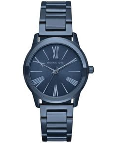 Michael Kors Women's Hartman Blue Ion-Plated Stainless Steel Bracelet Watch 38mm MK3509 | macys.com