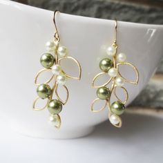 Pearl Leaf Dangle Earrings - Gold Drop Earrings, Wedding Jewelry, Bridesmaid, Bride, Olive Green Ivory Pearl, Leaf Pendant, Personalized. $19.00, via Etsy.