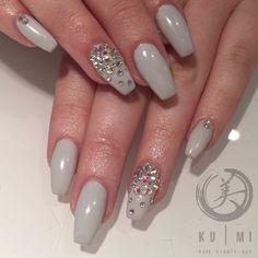Grey nails with diamonds