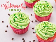 These fun cupcakes are more than delicious—they look just like watermelons, too! The vibrant colors and fun decorations lend a festive twist to any watermelon-themed party, or make for a wonderful treat anytime of year. Ingredients: 1 box white cake mix, plus box ingredients Food coloring (pink and green) ¾ cup chocolate chips 1 cup butter 2 tablespoons vanilla extract 3½ cups confectioners sugar Heavy cream Cupcake tin White cupcake liners Instructions Preheat oven according to instruc...