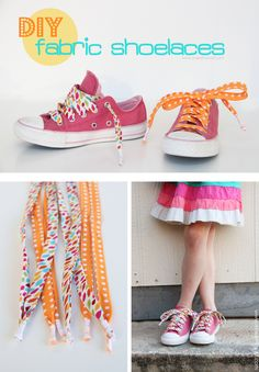 DIY Fabric Shoelaces.....whip up a few pairs, make them unique, and switch them out as you please!   www.makeit-loveit.com
