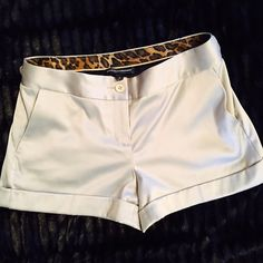 Silver with shine short shorts size 2 Sexy silver shorts excellent condition Express Design Studio Shorts