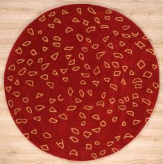 Handmade Circular Tibetan Area Rug In Red With Brown Accents