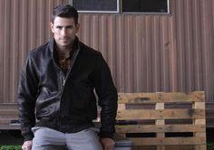 Lee Pappas for Golden Bear Sportswear (Spring 2013) #LeePappas #malemodel #model #StarsModels #StarsModelMgmt #GoldenBear #GoldenBearSportswear #jacket #leather