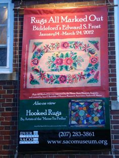 Hooked rug exhibit at Saco Museum,  Maine, featuring Edward S. Frost designs