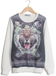 White Long Sleeve Tiger Skull Print Sweatshirt EUR€15.85
