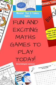 Maths Worksheets Multiplication Games Times Tables Kids by Ninalazina Math Bingo, Multiplication Games, Math Games, Maths, Times Tables Worksheets, Baddie Tips, Scrap Books, Math For Kids, Kids Prints