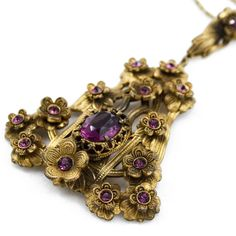 Art Nouveau Lavalier Necklace with Amethyst by PinkAstilbe on Etsy, $97.00