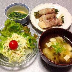 タケノコやキュウリの豚肉巻き、 はなっこりーの酢味噌あえ、 セロリとカイワレと雪の結晶パスタのサラダ、 キノコと豆腐のお味噌汁 です。 - 40件のもぐもぐ - 野菜中心の晩ご飯 by orieueki