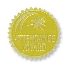"1-3/4"" Gold Foil Embossed Seals, Attendance Award, Pack of 54"