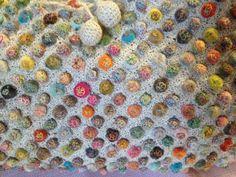 Sophie Digard crocheted linen bag with embellished velvet balls