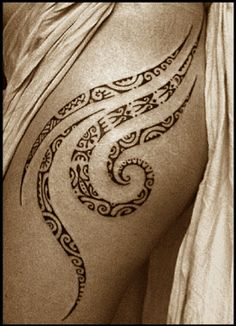 i would think about getting a maori/polynesian tat on my thigh.something pretty and flowy like this.
