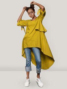 289a14fdfa02fc Buy Mustard Yellow Khadi Asymmetric Top online at Theloom
