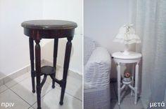 όλη τη διαδικασία βήμα - βήμα για να δώσετε νέα εμφάνιση στο παλιό σας τραπεζάκι & vintage εμφάνιση σε ένα  επιτραπέζιο ξύλινο φωτιστικό Bar Stools, Diy And Crafts, Shabby Chic, Vintage, Table, Furniture, Home Decor, Bar Stool Sports, Decoration Home