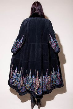 Vintage Embroidered Suede Coat - One Size Fits Most