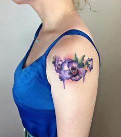 watercolor violet tattoo © Yeliz Ozcan