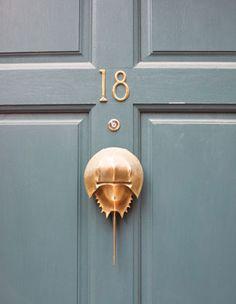 Horseshoe crab door knocker for a beach home, would be quirky~ Beacon Hill Door Knockers Decor, Doors, Beautiful Doors, Door Furniture, Coastal Decor, Door Hardware, Doorknockers, Door Handles, Hardware