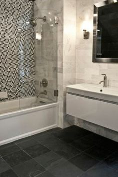 Bathroom Gallery |small glass tile with the marble tile
