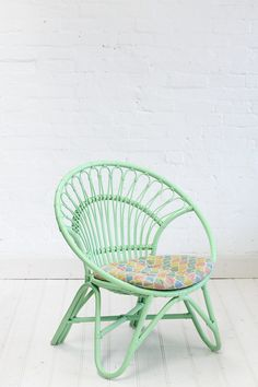 Rattan Round Chair Pastel Green by The Family Love Tree Indoor Wicker Furniture, Sunroom Furniture, Furniture Chairs, Furniture Ideas, Furniture Design, Rattan, Toddler Sofa Chair, White Wicker Chair, Deco Kids