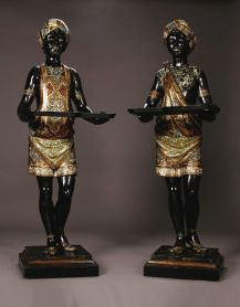 "Pair 19thc Venetian blackamoors with removable trays. 52"" tall."