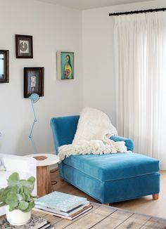 velvet blue chaise in eclectic home of karin smith via house and home