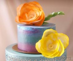 Wafer flower cake
