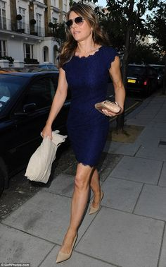 Elizabeth Hurley - Legs eleven: She added length to her already impressive legs with nude, pointed stilettos which she paired with a matching clutch bag