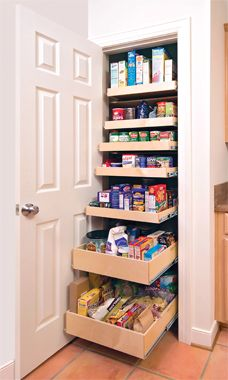 Think Outside the Clothes Closet Who says you have to use closets to hang clothes or stash brooms? With a little carpentry work, this former broom closet was converted to a handy pantry. Pull-out shelves bring everything into view — no fumbling around the back of shelves for that last jar of pickled beans.