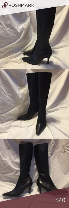 Tall Black Boots Used, black, very good condition tall boots size 8-1/2 has a zipper and slim heel. Alfani Shoes Heeled Boots