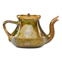GEORGE OHR (1857 - 1918); Teapot. Such a graceful spout for what looks like an earthenware pot.