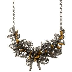 Jenny Packham Butterfly Statement Necklace ($250) ❤ liked on Polyvore featuring jewelry, necklaces, hematite, cluster necklace, statement bib necklace, butterfly necklace, wing jewelry and jenny packham