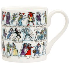 Enjoy lively companions every time you share a cup of tea or coffee with 41 characters from Jane Austen's six cherished novels. All your favorites are here, from Elizabeth and Mr. Darcy in Pride and Prejudice, to Emma and Mr. Knightley in Emm Shakespeare Characters, Shakespeare Plays, William Shakespeare, Shakespeare Festival, Jane Austen Books, Literary Gifts, Gifts For Readers, Porcelain Jewelry, Porcelain Ceramics
