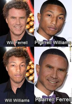 Will Ferrell and Pharrell Williams face swap. lmao this fucks with me! Will Ferrell, Pharrell Williams, Celebrity Name Puns, Funny Cute, Hilarious, Morning Memes, How To Be Likeable, Super Smash Bros, Funny Posts