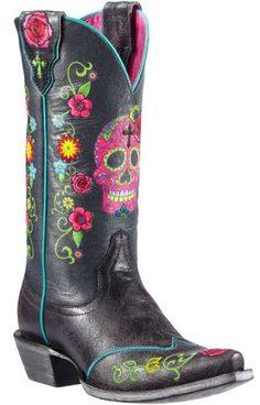 Ariat Gypsy Fiesta Skull & Floral Cowgirl Boots - Snip Toe - Sheplers