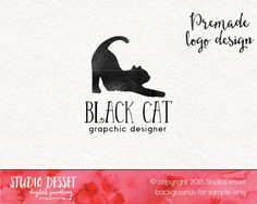 Cat Logo Design, Black Cat Logo, Photography Logo Design, Watercolor Logo, Hand Drawn Logo, Small Business Logo Graphic Design PL002 by StudioDesset on Etsy