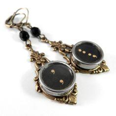 Vintage Typewriter Key Earrings - Brass Edwardian - Semicolon