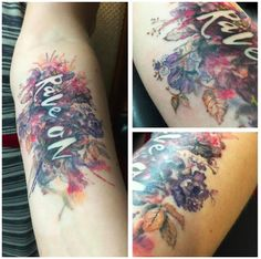 Watercolor Rave On floral tattoo designed and executed by Christopher Stubbs in KC, MO.  From Mary Oliver poem A Pretty Song