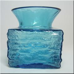 Dartington British kingfisher blue glass 'bark texture' vase, designed by Frank Thrower, pattern number FT101.